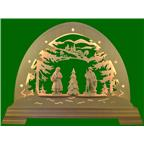 LED arched forest with 2 forest people+tree 49x42cm