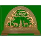 LED round arch with deer, roebuck and tree 49x42cm