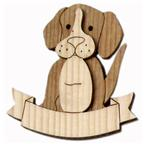 Magnet in wood 3D bicolor with dog