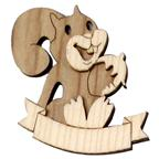 Magnet 3D bicolor in wood with squirrel