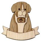 Magnet 3D bicolor in wood with St.Bernard