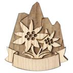 Magnet 3D bicolor in wood with edelweiss