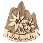 Magnet 3D bicolor in wood+edelweiss+writing