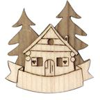 Magnet 3D bicolor in wood with chalet